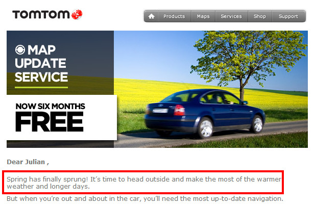 TomTom email example