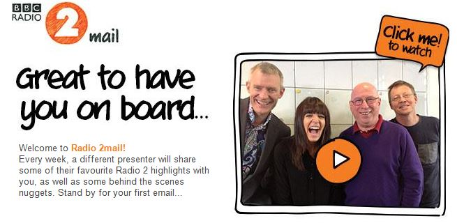 Radio 2 Mail welcome email